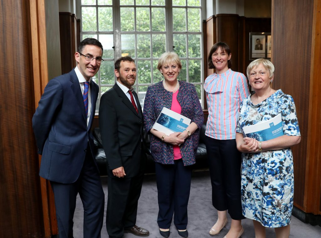 Pictured left to right are Declan Hughes, Department of Business, Enterprise and Innovation, Professor Colm O'Gorman, DCU, (co-author), Heather Humphries TD, Minister for Business, Enterprise and Innovation, Rowena Dwyer, Enterprise Ireland, Paula Fitzsimons, GEM coordinator for Ireland (co-author)